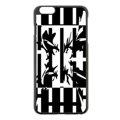 Black And White Abstraction Apple Iphone 6 Plus/6s Plus Black Enamel Case by Valentinaart