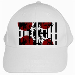 Red, Black And White Elegant Design White Cap