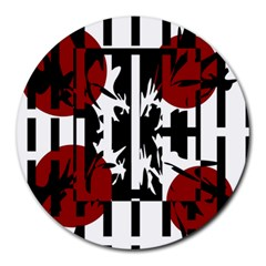 Red, Black And White Elegant Design Round Mousepads