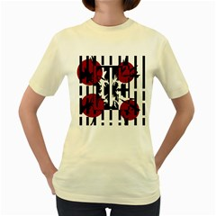 Red, Black And White Elegant Design Women s Yellow T Shirt
