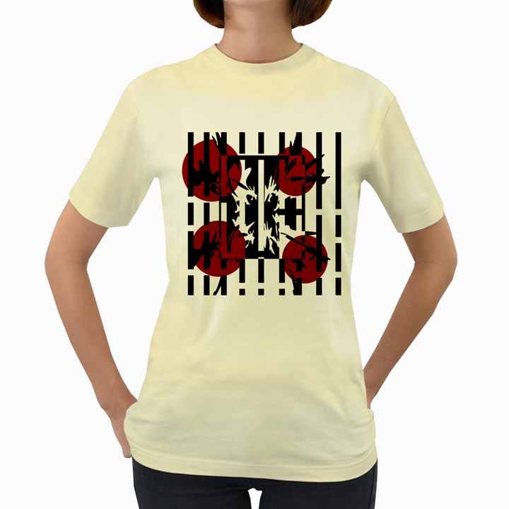 Red, black and white elegant design Women s Yellow T-Shirt
