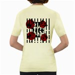 Red, black and white elegant design Women s Yellow T-Shirt Back