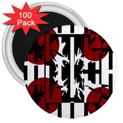 Red, Black And White Elegant Design 3  Magnets (100 Pack) by Valentinaart