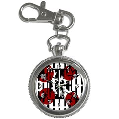 Red, Black And White Elegant Design Key Chain Watches by Valentinaart