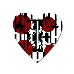 Red, Black And White Elegant Design Heart Magnet by Valentinaart
