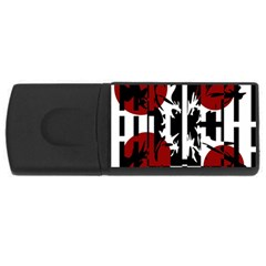 Red, Black And White Elegant Design Usb Flash Drive Rectangular (4 Gb)  by Valentinaart