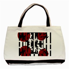 Red, Black And White Elegant Design Basic Tote Bag by Valentinaart