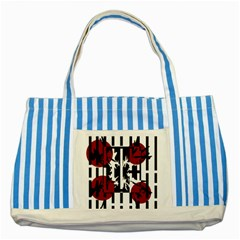 Red, Black And White Elegant Design Striped Blue Tote Bag by Valentinaart