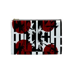 Red, Black And White Elegant Design Cosmetic Bag (medium)  by Valentinaart