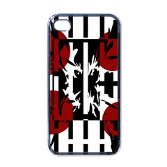 Red, Black And White Elegant Design Apple Iphone 4 Case (black) by Valentinaart