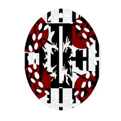 Red, Black And White Elegant Design Ornament (oval Filigree)  by Valentinaart