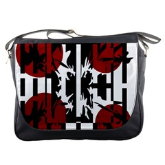 Red, Black And White Elegant Design Messenger Bags by Valentinaart