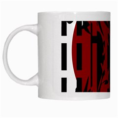 Red, Black And White Decorative Design White Mugs by Valentinaart