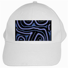 Blue Abstract Design White Cap by Valentinaart