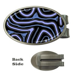 Blue Abstract Design Money Clips (oval)  by Valentinaart