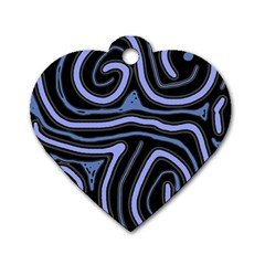 Blue Abstract Design Dog Tag Heart (one Side) by Valentinaart