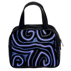 Blue Abstract Design Classic Handbags (2 Sides) by Valentinaart
