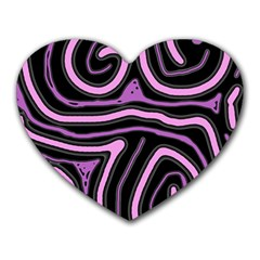Purple Neon Lines Heart Mousepads by Valentinaart