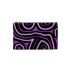 Purple Neon Lines Cosmetic Bag (small)  by Valentinaart