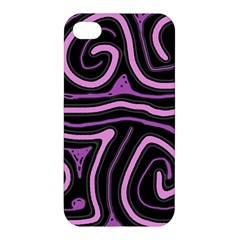Purple Neon Lines Apple Iphone 4/4s Hardshell Case by Valentinaart