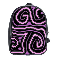 Purple Neon Lines School Bags (xl)  by Valentinaart