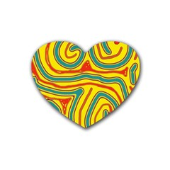 Colorful Decorative Lines Rubber Coaster (heart)  by Valentinaart