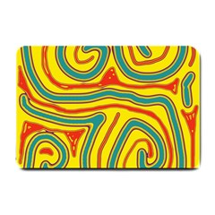 Colorful Decorative Lines Small Doormat  by Valentinaart