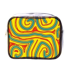 Colorful Decorative Lines Mini Toiletries Bags by Valentinaart