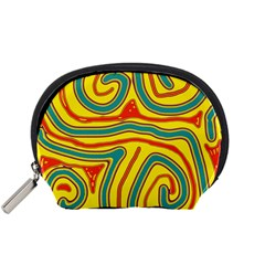 Colorful Decorative Lines Accessory Pouches (small)  by Valentinaart