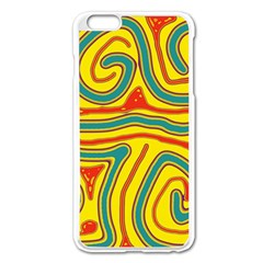 Colorful Decorative Lines Apple Iphone 6 Plus/6s Plus Enamel White Case by Valentinaart