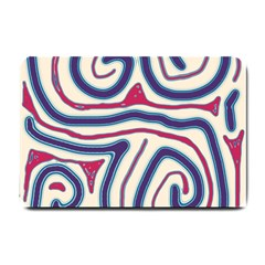Blue And Red Lines Small Doormat  by Valentinaart