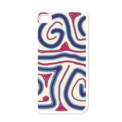 Blue And Red Lines Apple Iphone 4 Case (white) by Valentinaart