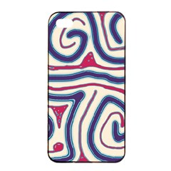 Blue And Red Lines Apple Iphone 4/4s Seamless Case (black) by Valentinaart