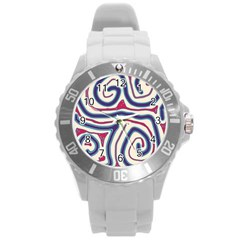 Blue And Red Lines Round Plastic Sport Watch (l) by Valentinaart