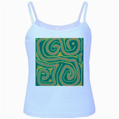 Green And Orange Lines Baby Blue Spaghetti Tank by Valentinaart
