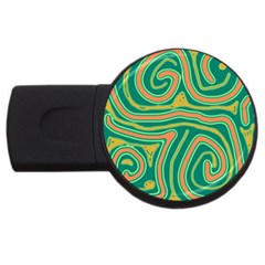 Green And Orange Lines Usb Flash Drive Round (2 Gb)  by Valentinaart