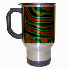Green And Orange Lines Travel Mug (silver Gray) by Valentinaart