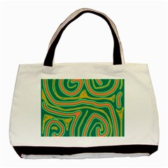 Green And Orange Lines Basic Tote Bag by Valentinaart