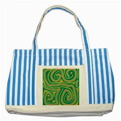 Green And Orange Lines Striped Blue Tote Bag by Valentinaart