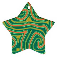 Green And Orange Lines Star Ornament (two Sides)  by Valentinaart