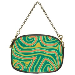 Green And Orange Lines Chain Purses (one Side)