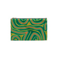 Green And Orange Lines Cosmetic Bag (small)  by Valentinaart