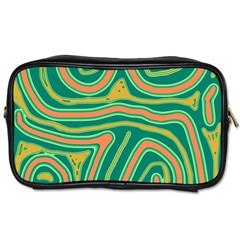 Green And Orange Lines Toiletries Bags by Valentinaart