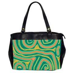 Green And Orange Lines Office Handbags (2 Sides)  by Valentinaart
