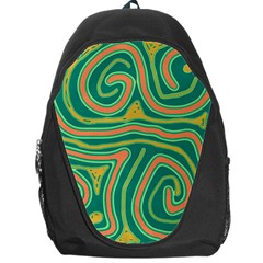 Green And Orange Lines Backpack Bag by Valentinaart