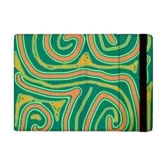 Green And Orange Lines Apple Ipad Mini Flip Case by Valentinaart