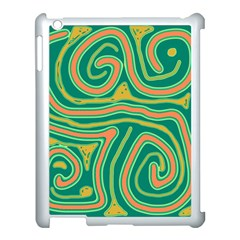 Green And Orange Lines Apple Ipad 3/4 Case (white) by Valentinaart