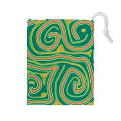 Green And Orange Lines Drawstring Pouches (large)  by Valentinaart