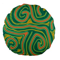 Green And Orange Lines Large 18  Premium Flano Round Cushions by Valentinaart