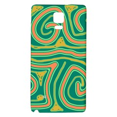 Green And Orange Lines Galaxy Note 4 Back Case by Valentinaart